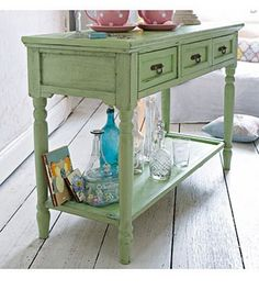 shabby chic mint green sideboard table