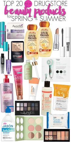 Top 20 NEW drugstore beauty products that are PERFECT for the spring & summer months. If you are looking for the latest in makeup, skin care, hair care or even lotions to make your skin in prime condition for the summer months all at a bargain, this list