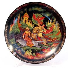 "This porcelain Russian decorative plate is from the special collection ""Russian fairy tales in porcelain"". The subject of the miniature is the Russian folk  tale ""Tale Ivan Tsarevich and the Grey Wolf""."