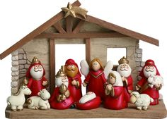Charming Red and Gold Christmas Nativity Set of 11 Figurines with Creche