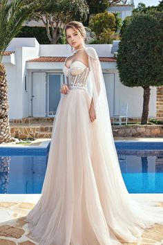 Beautiful Modern Pearl Beaded Illusion Lace & Champagne Tulle Wedding Dress w Beaded Cape, Sweethear Cheap Bridal Dresses, Western Wedding Dresses, Elegant Wedding Gowns, Long Wedding Dresses, Long Sleeve Wedding, Wedding Dress Sleeves, Tulle Wedding, Bridal Gowns, Beaded Cape