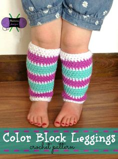 Lightweight legwarmer crochet pattern from Blackstone Designs in sizes baby to adult. Get a copy of the pattern here: http://www.ravelry.com/patterns/library/color-block-leggings $3.99