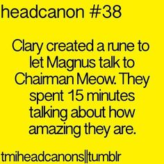 The Mortal Instruments Headcanon // TMI // Magnus Bane // Chairman Meow