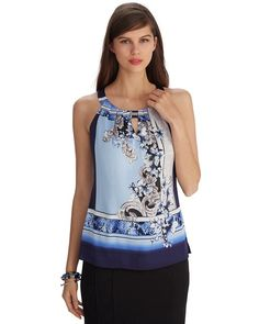 I just purchased myself this top at WHBM. It is so soft & flattering. It will look great dressed up or down. I can't wait until it warms up enough for me to wear it! ~ Sleeveless Printed Keyhole Top