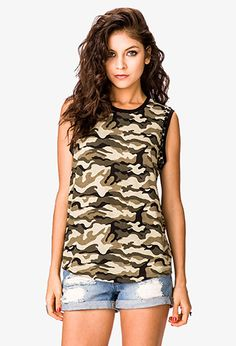 Rhinestoned Camo Muscle Tee | FOREVER21 - 2052287779  #summerforever #f21xme
