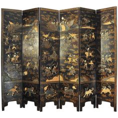 19th Century Six-Paneled Black Lacquered Chinese Screen   From a unique collection of antique and modern lacquer at https://www.1stdibs.com/furniture/asian-art-furniture/lacquer/