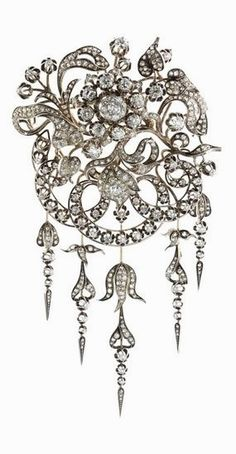 An antique silver, gold and diamond brooch, circa 1900. #VintageJewelry