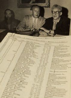 A photograph of Oskar Schindler (centre) and what is thought to be the original list.