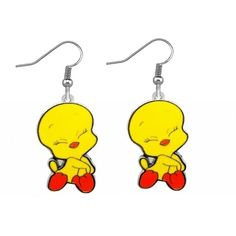 TWEETY BIRD LOONEY TUNES CHARM PIERCED DANGLE EARRINGS ($13) ❤ liked on Polyvore featuring jewelry, earrings, long earrings, dangle earrings, charm earrings and charm jewelry