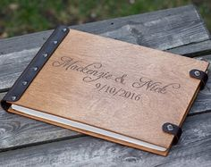 Unique Wood Wedding Guest Book Monogrammed Personalized