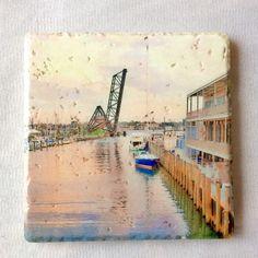 Port Huron, Michigan, nautical trivet, Italian stone tile featuring historic railroad bridge. Lake Huron.