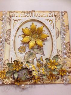 Heartfelt Creations sunflower card Handmade Greetings, Greeting Cards Handmade, Sunflower Cards, Heartfelt Creations Cards, Heart Frame, Spellbinders Cards, Shabby Chic Cards, Easel Cards, Felt Hearts
