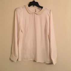 Loft Pearl Peter Pan Collar Blouse EUC. Ivory. One small flaw on one pearl-shown in pic...flaw is on the back. Still gorgeous!! LOFT Tops Blouses