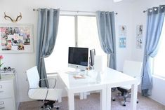 36 Inspirational Home Office Workspaces That Feature 2 Person Desks tags:two person desk diy, two person desk for home office, two person desk ideas, two person desk with hutch, work stations, storage, living rooms,craft tables. #homeofficeremodel #homeofficeideasfortwo #homeofficeideasdiy