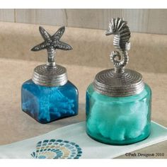 Starfish and Sea Horse Glass JarsPerfect accent to a beach themed bathroom.