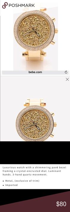 BeBe Crystal Stainless Steel Gold Watch BeBe Stainless Steal Crystal Gold Pavel Watch  has minimal wear on band in great working condition. Beautiful piece on and many complements on how nice the watch is. bebe Jewelry