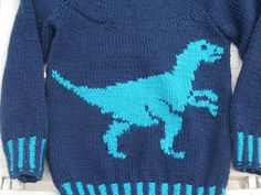 Dinosaur Child's Sweater and Hat - Velociraptor - Knitting Pattern, Dinosaur Sweater and Hat Knitting Pattern, Dino Knitting Pattern Knitting Charts, Knitting Patterns Free, Baby Knitting, Dinosaur Sweater, Crochet Cable Stitch, Knitted Hats Kids, Intarsia Patterns, Fox Hat, Boys Sweaters