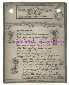WWII Pictorial Airgraph Golf Dancing military 1944 War London to South Africa Great Britain, Ww2, South Africa, Military, Dance, Writing, History, Ebay, Dancing