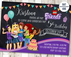 Party Friends Invitation 26 Ideas For 2019 Lego Invitations, Personalized Invitations, Printable Invitations, Party Printables, Birthday Party Invitations, Lego Friends Birthday, Lego Friends Party, Lego Birthday Party, Girl Birthday