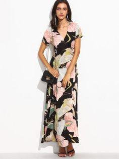 Flower Print V Neck Self Tie Waist Wrap Dress