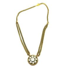 Vintage Multi Chain Gold Plated Clear Paste Rhinestone Flower Pendant Necklace