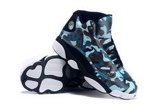 New Original Air Jordan 13 Army Blue Black White For Women 7f2bcaab0