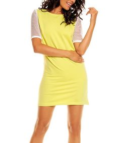 Look what I found on #zulily! Lime Mesh-Back Dress #zulilyfinds. Perfect summertime dress. I just love the color along with the sheer sleeves.