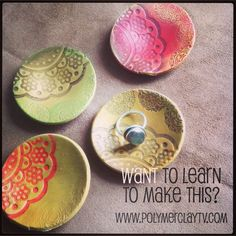 Polymer Clay TV & Polymer Clay Productions: How to make a pretty wobble ring trinket bowl with polymer clay