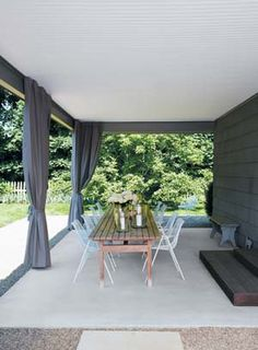 High Quality For The Back Patio. Sunbrella Drapes Provide Shade In The Carport  Turned Outdoordining