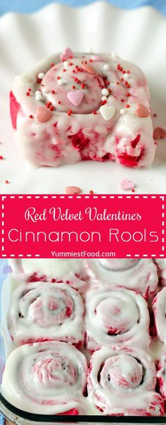 They are filled with cinnamon sugar, topped with cream cheese and sprinkled with love! day for her cute ideas Red Velvet Valentines Cinnamon Rools Valentine Desserts, Valentines Day Food, Mini Desserts, Valentines Baking, Valentine Treats, Holiday Treats, Holiday Recipes, Dessert Recipes, Valentines Breakfast