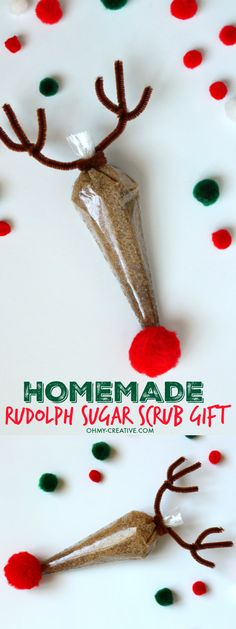 This Homemade Rudolph Sugar Scrub Gift Using Essential Oils is so easy to make and just adorable to give to so many on your Christmas shopping list! Great stocking stuffer too!   OHMY-CREATIVE.COM