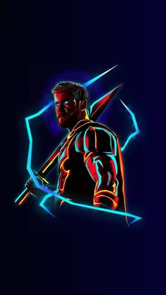 A perfect HD neon themed traced Thor wallpaper with black overalls so it doesn't hurt the eyes.