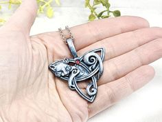 Fox Necklace Triquetra Necklace Wiccan Jewelry / Pagan Jewelry image 5 Wolf Jewelry, Cat Jewelry, Wolf Necklace, Wiccan Jewelry, Witch Fashion, Triquetra, Blue And Silver, Swarovski Crystals, Medieval
