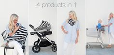 Covered Goods 4-in-1 Nursing Cover. 1. Nursing Cover 2. Car Seat Cover 3. Infinity Scarf 4. Shopping Cart Cover