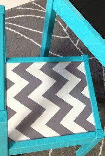 Laminated Fabric on Ikea Hack Latt Table! Kids table