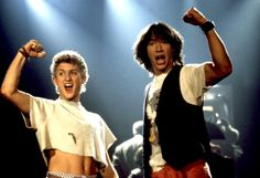 Bill And Ted'S Excellent Adventure, Alex Winter, Keanu Reeves, 1989, Raised Fist Photo Print - Item # VAREVCMSDBIANEC005 - Posterazzi