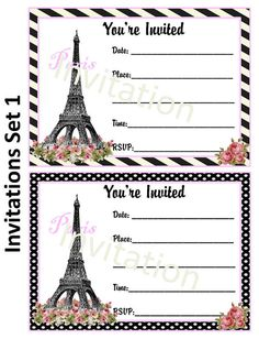 Items Similar To Paris Theme Party Invitation On Etsy