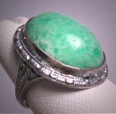 Antique Art Deco Jade Ring Vintage c.1915 Victorian Filigree