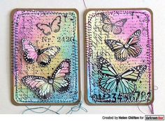 ATC's by Helen Chilton using Darkroom Door Butterfly Script Rubber Stamps Atc Cards, Card Tags, Paper Cards, Art Journal Pages, Journal Cards, Art Journals, Round Robin, Art Trading Cards, Hand Lettering Tutorial