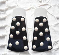 Earrings Enamel Long Polka Dot Black White Metal by FindCharlotte