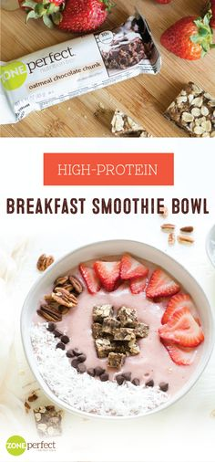 When it comes to getting back on track this new year, starting your day with a tasty meal is always a good idea. This High​ ​Protein​ Breakfast Smoothie​ ​Bowl​ recipe makes it easy to do just that thanks to the addition of ZonePerfect® Oatmeal Chocolate Strawberry Smoothie Bowl Recipe, Smoothie Recipes, High Protein Breakfast, Breakfast Smoothies, Breakfast Recipes, Nutrition Bars, Protein Nutrition, Healthy Smoothies, Eat Healthy