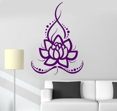 Vinyl Wall Decal Lotus Flower Ornament Buddhism Floral Decor Stickers (ig3542)