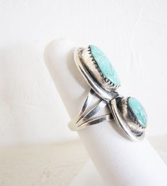 Navajo Ring In Sterling & Turquoise  Boho Statement Ring