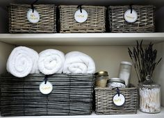 This girl's site is great... called Deliciously Organized. Like this linen closet idea.