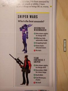 """gamercrunch: """" The real comparison of and Overwatch that we needed. Overwatch Widowmaker, Overwatch Memes, Funny Gaming Memes, Funny Games, Tf2 Funny, Tf2 Memes, Team Fortess 2, Video Game Memes, Really Funny"""