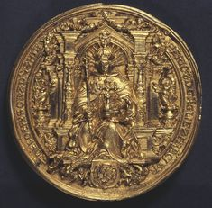 A copy of the gold seal of Henry VIII, which was attached to a confirmation of a peace treaty made with Henry VIII in 1527. (Obverse).
