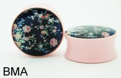 vintage floral plugs #plugs #stretched ears #pink plugs #floral plugs #girly plugs #pretty plugs #black floral #dark floral #pastel pink #pastel plugs #acrylic plugs