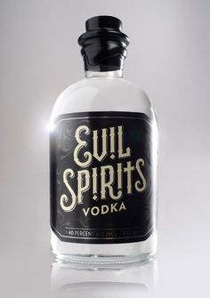 Evil Spirits Vodka. It is quite gothic looking and reminds me of the Russian style that I have been concentrating on. It has a good name and the way the design is with the colour scheme fits perfectly; working well with the bottle shape and unusual top. Even though this is not my preferred style of bottle.