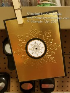 Stampin' Up! Winter Wonder Textured Impressions Embossing Folder, Year of Cheer Specialty Designer Paper, Gold Foil, Black Rhinestone Jewels, Holiday, Christmas, http://www.kimplayswithpaper.com/home/winter-wonder-in-gold