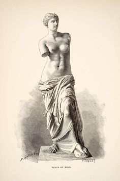 1890 Wood Engraving Nude Statue Aphrodite Ancient Mythological Greek X - Period Paper